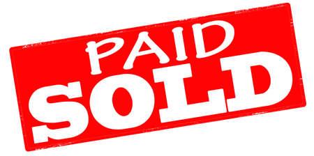 Sello con el texto pagado vendió interior, ilustración vectorial Foto de archivo - 35539166