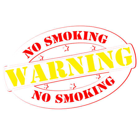 Stamp with text warning no smoking inside, vector illustration Vector
