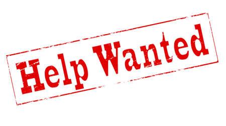 help wanted sign: Sello con el texto de ayuda quer�a dentro, ilustraci�n vectorial Vectores