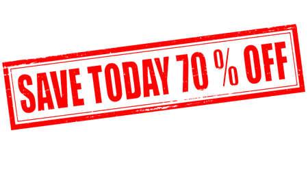 seventy: Timbro con testo risparmia settanta per cento fuori dentro, illustrazione vettoriale