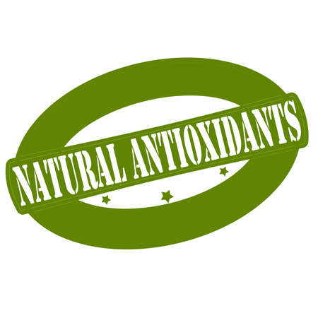 antioxidants: Stamp with text natural antioxidants inside, vector illustration