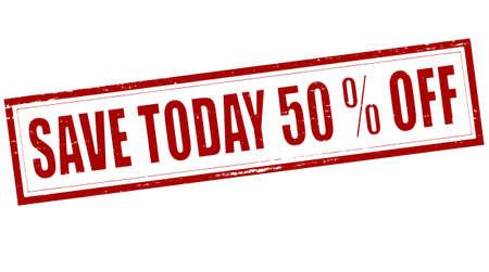 superviser: Stamp avec le texte sauver aujourd'hui cinquante pour cent hors l'int�rieur, illustration vectorielle