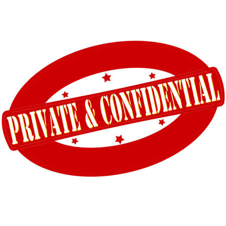 Stamp with words private and confidential inside, vector illustration