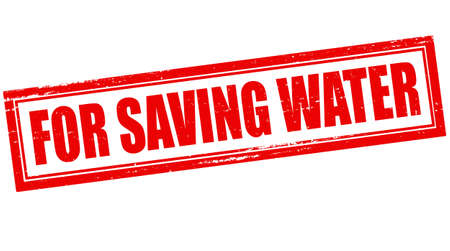 deliverance: Stamp with text for saving water inside, vector illustration