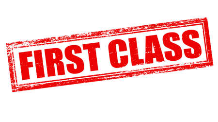 first class: Stamp with text first class inside, vector illustration