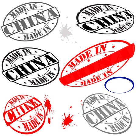 china stamps: Set of stamps with text made in china inside, vector illustration