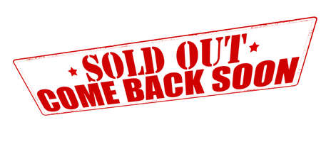 Stamp with text sold out come back soon inside, vector illustration