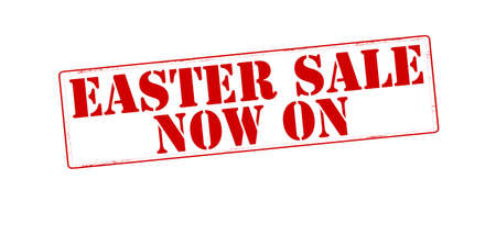 currently: Stamp with text Easter sale now on inside, vector illustration