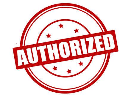 authoritative: Stamp with word authorized inside, vector illustration Illustration