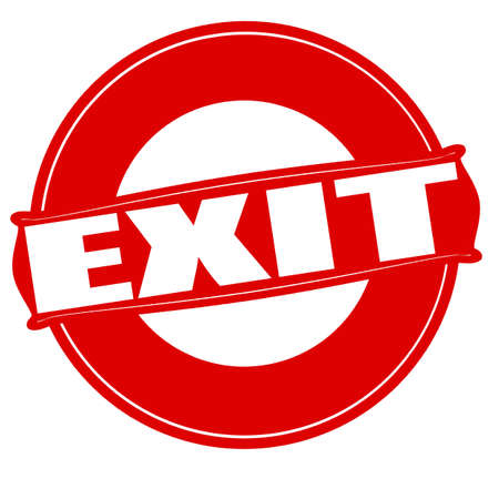 way out: Stamp with word exit inside, vector illustration Illustration