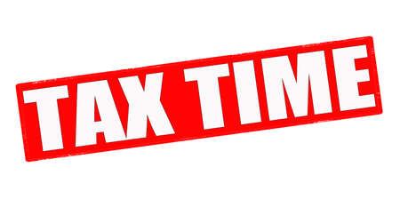 scot: Stamp with text tax time inside, vector illustration