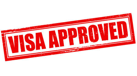 visa approved: Stamp with text visa approved inside, vector illustration