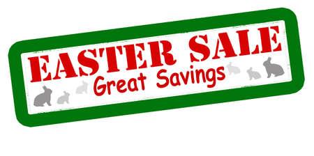 thrift: Sello con la venta de texto Pascua interior, ilustraci�n vectorial