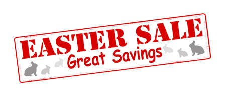 thrift: Sello con el texto de la venta Pascua interior, ilustraci�n vectorial Vectores