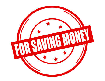 thrift: Stamp with text for saving money inside, vector illustration