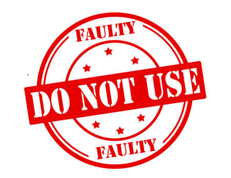 out of use: Stamp with text faulty do not use inside, vector illustration Illustration