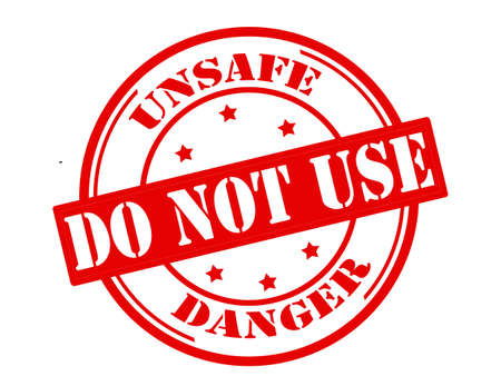 inconstant: Stamp with text unsafe do not use inside, vector illustration