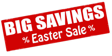 parsimony: Stamp with text big savings Easter sale inside, vector illustration Illustration