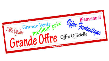 fantastical: Set of stamps with different text in French language inside, vector illustration