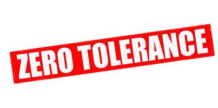 tolerancia: Sello con el texto de tolerancia cero en el interior, ilustraci�n vectorial