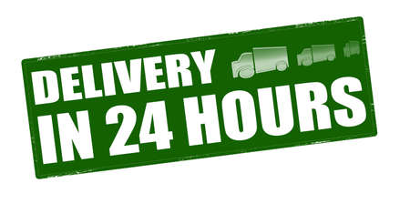 twenty four hours: Stamp with text delivery in twenty four hours inside, vector illustration Illustration