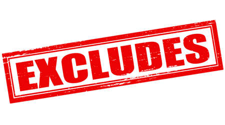 excludes: Stamp with word excludes inside, vector illustration