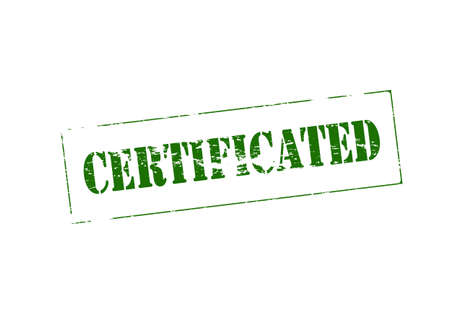 certificated: Stamp with word certificated inside, vector illustration