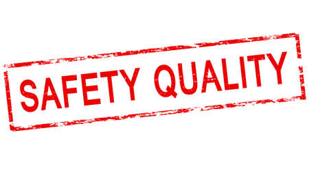 surety: Stamp with text safety quality inside, vector illustration
