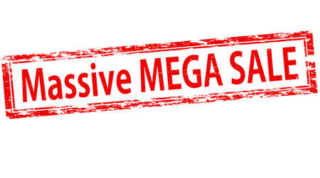 treachery: Stamp with text massive mega sale inside, vector illustration