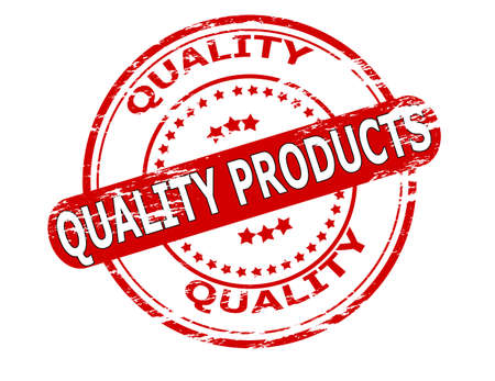 commodity: Stamp with text quality products inside, vector illustration