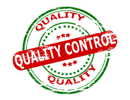 quality check: Stamp with text quality control inside, vector illustration Illustration