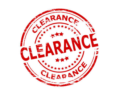 clearance: Stamp with word clearance inside, vector illustration