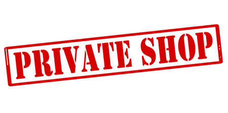 privy: Rubber stamp with text private shop inside, vector illustration