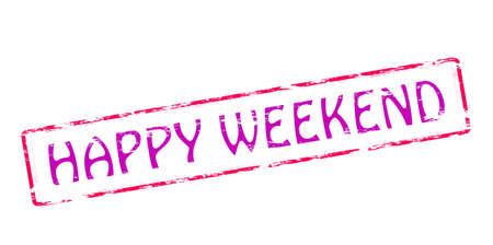 blithe: Sello de goma con el texto feliz fin de semana en el interior, ilustraci�n vectorial