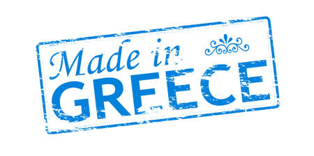 Rubber stamp with text made in Greece inside, vector illustration