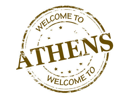 athens: Rubber stamp with text welcome to Athens inside illustration