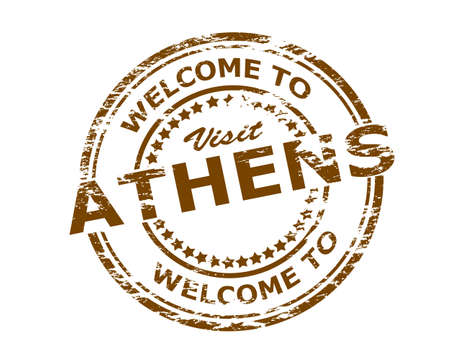 athens: Rubber stamp with text welcome to Athens inside, vector illustration Illustration