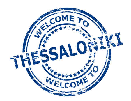 seasonable: Rubber stamp with text welcome to Thessaloniki inside, vector illustration