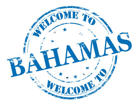 timely: Rubber stamp with text welcome to Bahamas inside illustration