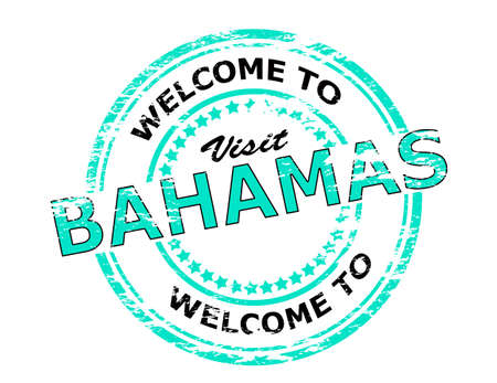seasonable: Rubber stamp with text welcome to Bahamas inside illustration