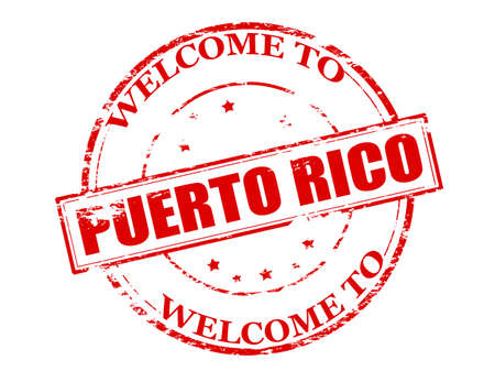 meet and greet: Rubber stamp with text welcome to Puerto Rico inside illustration