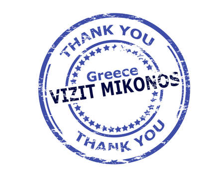 Rubber stamp with text visit Mikonos in Haitian language inside, vector illustration