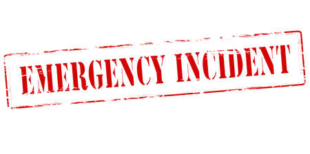 contingency: Rubber stamp with text emergency incident inside, vector illustration