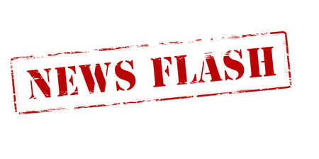 gleaming: Rubber stamp with text news flash inside illustration