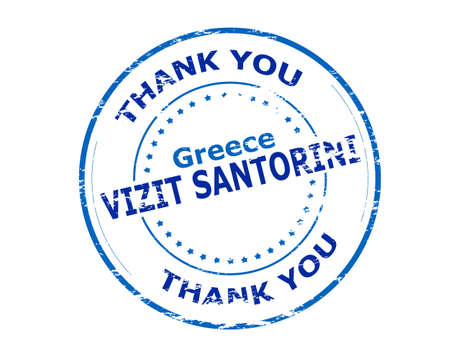 santorini: Rubber stamp with text visit Santorini in Haitian language inside illustration Illustration