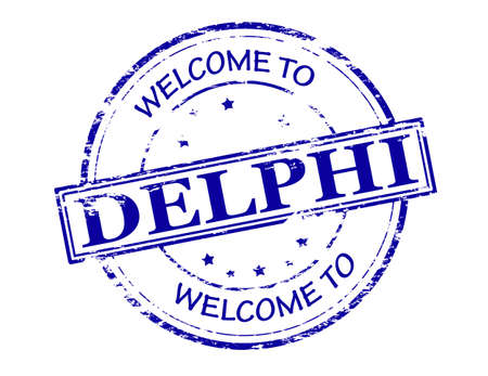 incur: Rubber stamp with text welcome to Delphi inside illustration Illustration