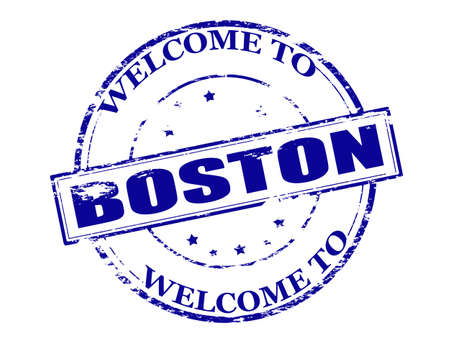 incur: Rubber stamp with text welcome to Boston inside illustration