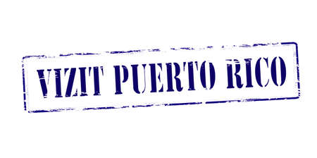 haitian: Rubber stamp with text visit Puerto Rico in Haitian language inside illustration Illustration