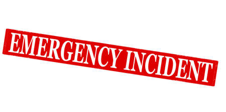 incident: Rubber stamp with text emergency incident inside illustration Illustration