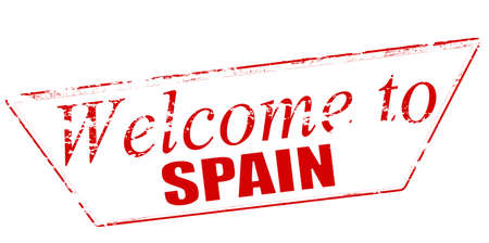 incur: Rubber stamp with text welcome to Spain inside illustration Illustration